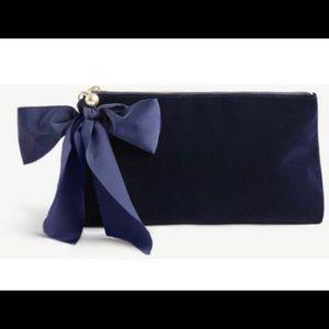 Ann Taylor Velvet Bow Clutch Navy Blue